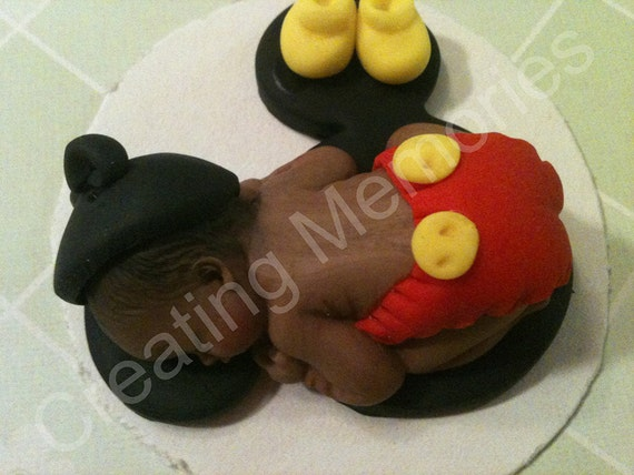 Edible Cake Decorations Baby Boy : Fondant Baby Boy Edible Cake topper made of vanilla fondant