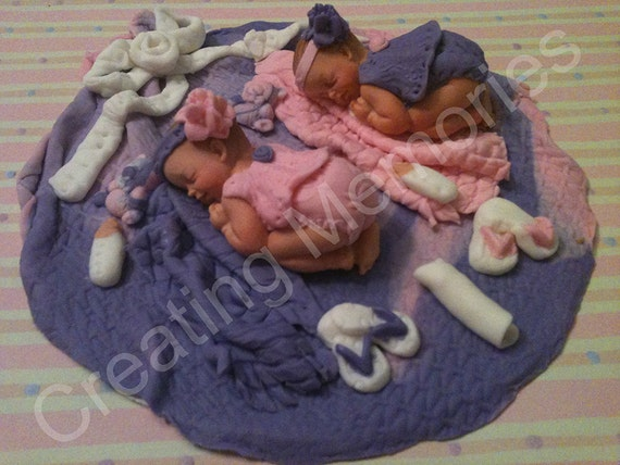 Twin Babies Girls cake topper for BABY SHOWER Pink and Purple blankets sandals, toys Ready for your home made cakes edible Vanilla Fondant