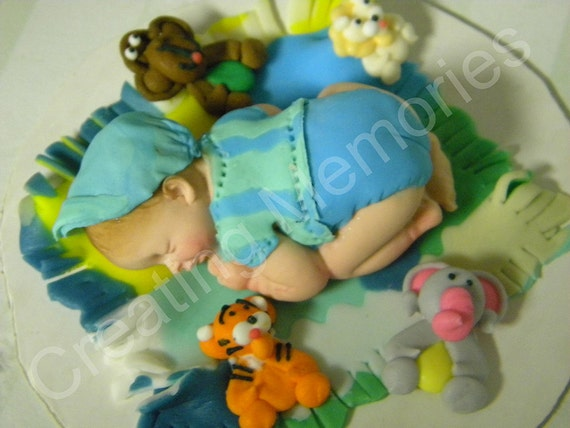 Jungle Baby - Choose Boy or Girl /Baby Shower/Christening/Edible Cake Topper made with Vanilla Fondant Boy. Edible Cake Decorations. Fondant