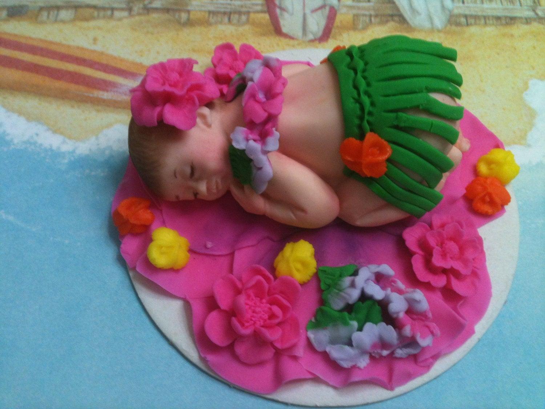 Hawaiian BabyEdible Cake Toppers Made of Vanilla by anafeke