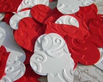 150 paper hearts - embossed paper hearts - wedding confetti - little paper hearts - party supplies -  confetti - red and white paper hearts
