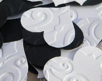 50 paper hearts - embossed paper hearts - little paper hearts - embellishments - black and white hearts - cardstock hearts - paper hearts