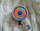 Free shipping tie dye peace sign, badge holder, badge reel