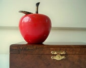 Vintage rustic painted glass apple paperweight