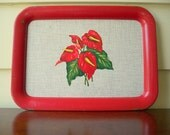 1940s anthurium gray and red rectangle tray.  Mid Century bar ware.