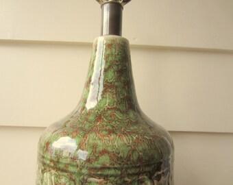 Mid Century ceramic green table lamp.