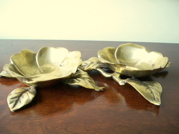 Pair of brass magonlia blossoms.  Southern home decor.  Centerpiece.  Candle holders.