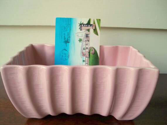 Mid Century pink ribbed planter.  Pink USA planter.