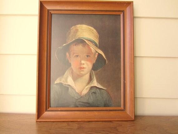 Thomas Sully framed Boy in Straw Hat print on board