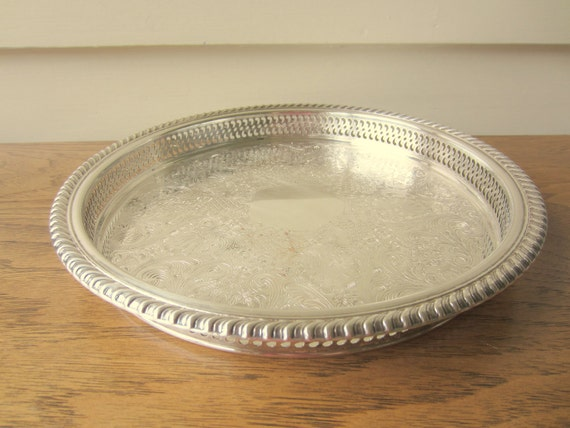 Round silver gallery tray.  WM Rogers gallery tray.