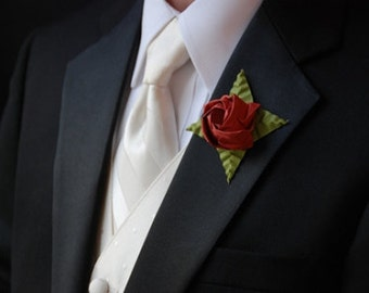 6 Red Rose Origami Boutonnières