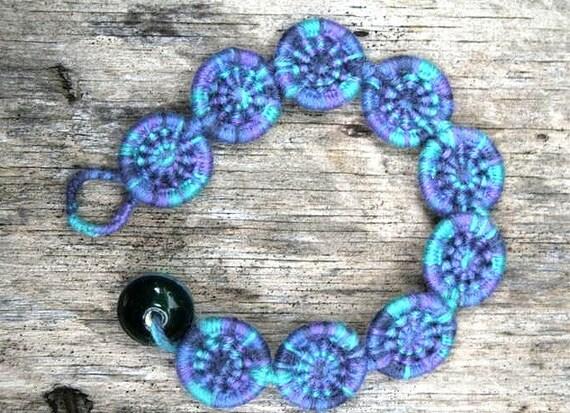 Sea blue Dorset Button Bracelet