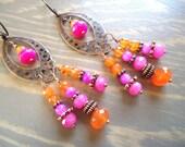 SALE - Chandelier Earrings, Colorful Earrings, Boho Earrings, Bohemian Gypsy Earrings, Pink Magenta Orange Earrings, Boho Jewelry