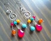Metalwork Earrings, Hand Forged Sterling Silver Earrings, Colorful Jewelry, Artisan Gypsy Chandelier Earrings, Hippie Bohemian Jewelry