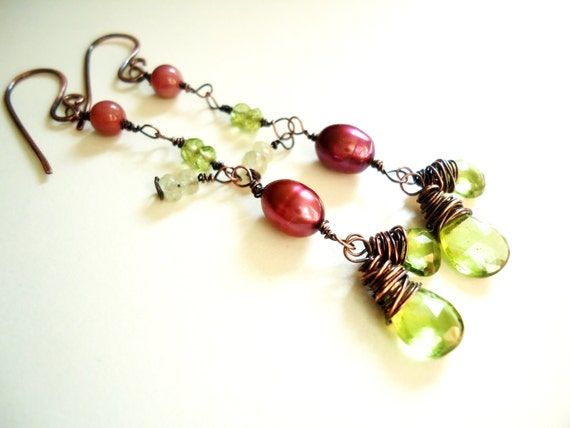 Long Dangle Earrings, Beaded Earrings, Autumn Earrings, Fall Fashion, Briolette Earrings, Peridot, Freshwater Pearls