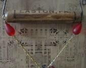 Romantic Steam punk asssemblage necklace earring set handmade packagehandle holder fleur de lis beaded chain typeset clasp