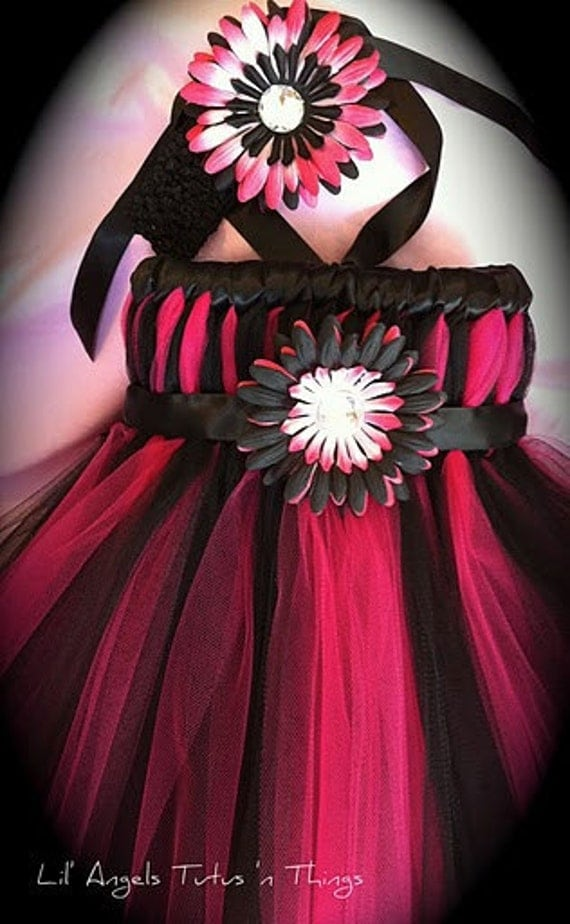 Rocker Chic Empire Tutu Dress w/ matching flower headband - You can also pick any colors