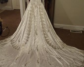Vintage Wedding Dress High Beaded Neck Satin Lace GORGEOUS Sz 2 Small