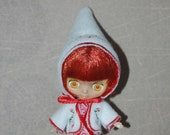 Petite Blythe Gnome hat and Jacket Embroidered set - Red Hearts