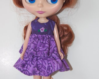 Blythe Dress - Purple Bullion Rose hand embroidered READY TO SHIP
