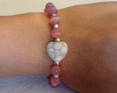Light Pink Glass Beaded Bracelet with White Glass Heart -- 925 Sterling Silver -- Breast Cancer Awareness, Valentine's Day