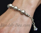 Big Bold and Beautiful Stainless Steel Silver Bead Bracelet