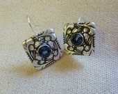 Fine Silver (PMC) Artisan Crafted Earrings with Natural London Blue Topaz