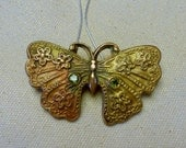 Handcrafted Bronze PMC Butterfly Pendant with Natural Peridot Gemstone