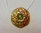 Handcrafted Bronze PMC Pendant with Natural Peridot