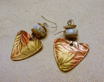 Handcrafted Rose Bronze, Bronze (PMC) and Impression Jasper Earrings with Sterling Silver Hooks