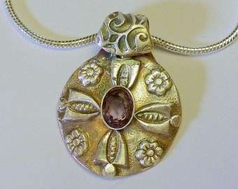 Handcrafted Fine Silver .999  Pendant with Natural Amethyst Gemstone 2.5 Carats