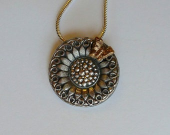 Handcrafted Fine Silver (.999) Flower Pendant with Bronze (PMC) Butterfly