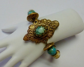 Handcrafted Bronze PMC Bracelet with Natural Turquoise and Jasper gemstones