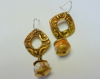 Artisan Crafted Bronze (PMC) Earrings with Impression Jasper Gemstones and .925 sterling silver wires