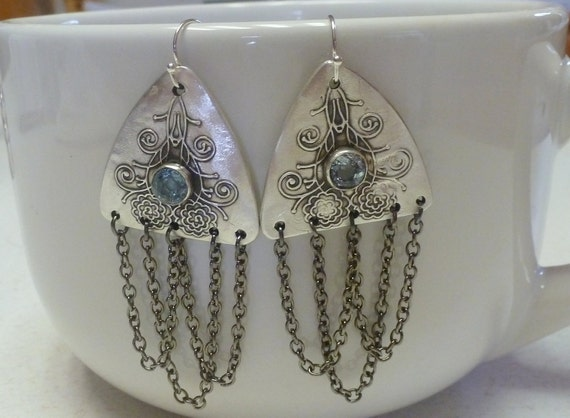 Fine Silver (PMC) Handcrafted Earrings with Natural Aquamarine Gemstones
