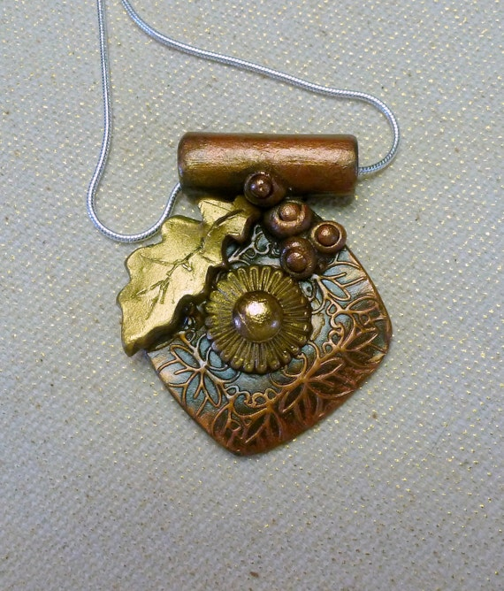 Handcrafted Bronze and Copper PMC Sun Leaf Pendant