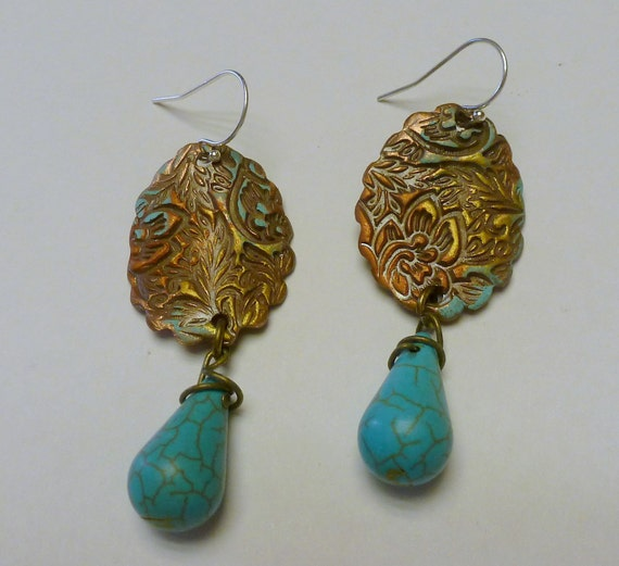 Copper PMC Handcrafted Earrings with Howolite Stones