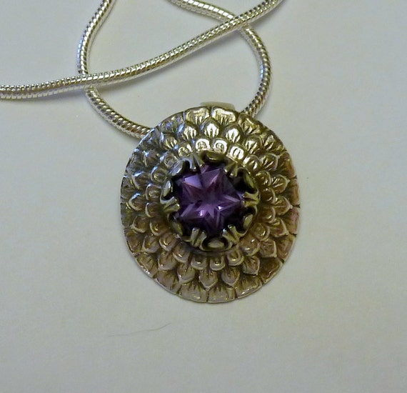 Fine Silver Pendant with Natural Amethyst Gemstone