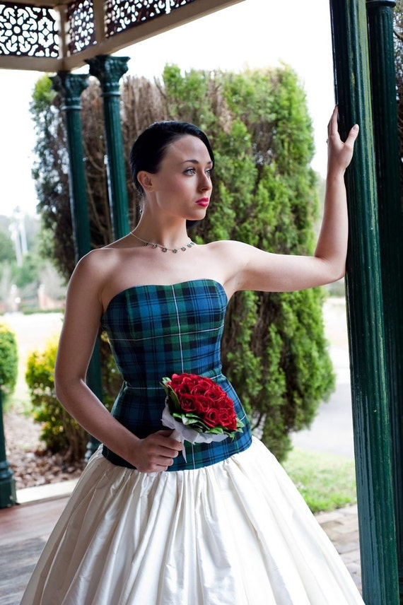 Items similar to striking 39 isla 39 tartan and silk dupion for Scottish wedding guest dress