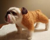 Artist Needle Felted Bulldog Sculpture Dog - Sweetie