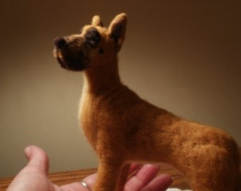 Artist Needle Felted Great Dane Dog Sculpture - Gracie