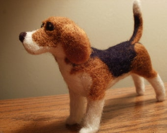 Artist Needle Felted Beagle Dog Sculpture - Princess