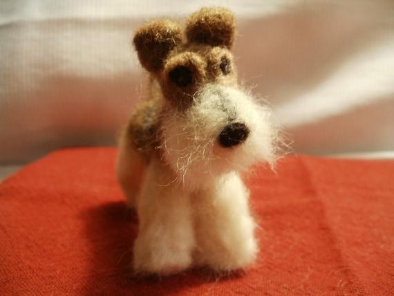 Artist Needle Felted Wire Hair Fox Terrier Sculpture Dog - Mimi