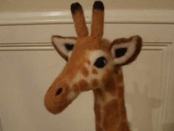 Needle Felted Giraffe Sculpture OOaK African Jungle Safari Artist Created