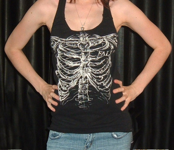 Skeleton Rib Cage Diy shirt fallen upcycled recycled reconstructed halter tank top t tee sexy gothic goth skull skulls ribcage punk SALE