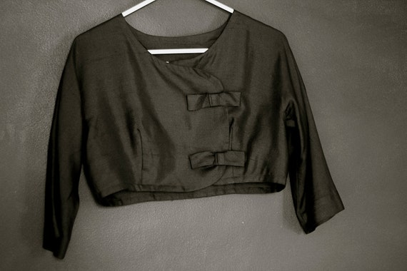 vintage black jonathan logan bolero with bows - size small medium