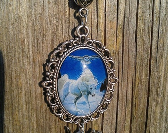 Winter Wanderes - Antique Silver Art Pendant Necklace Cameo - Unicorn Owl