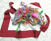 Italian Silk Jacquard Floral Square Scarf, marsala color border, bright flowers, purchased in Italy, unused, pristine vintage