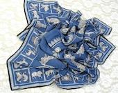 Blue Architectural Square Silk Scarf, Boston Museum of Fine Arts