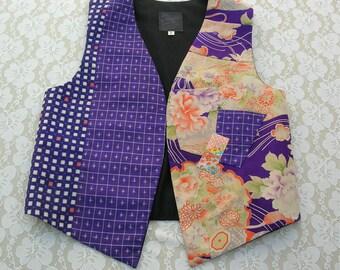 SUMMER SALE Gorgeous Silk Kimono Fabric Artisan Vest, like new, sz S, greatly reduced price